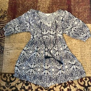 Cute navy and white tunic top